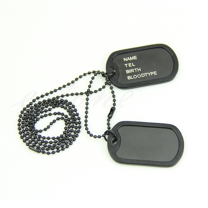 Nice Gift Military Army Style Black 2 Dog Tags Chain Mens Pendant Necklace(China (Mainland))
