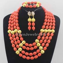 חרוזים קורל האפריקאי כלה ניגרית להגדיר תכשיטים אפריקאים מגדיר משלוח חינם חרוזים אלמוגים W11635(China)