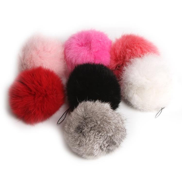 Hot Cute Soft Artificial Rabbit Fur Ball Handbag Key Chain Cell Phone Car Pendant 7 Colors Drop Shipping HG-091956(China (Mainland))