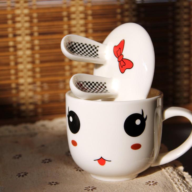 2015 Zakka porcelain coffee cup lid porcelain mug for sublimation White Rabbit Animal Milk Cup Ceramic Lovers Mug Cute CB037(China (Mainland))