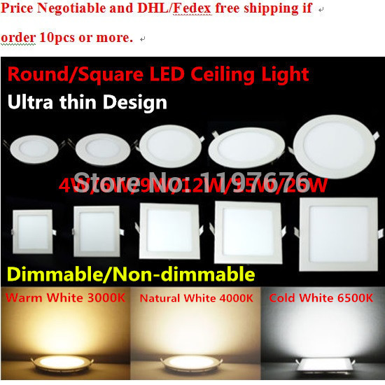 25Watt Round/Square LED Ceiling Light Recessed Kitchen Bathroom Lamp 85-265V LED Down light Warm White/Cool White Free shipping(China (Mainland))