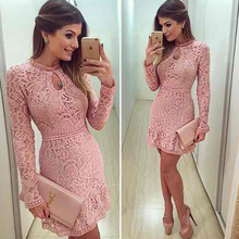 Fashion new women  bodycon Dress elegant pink lace dress casual long sleeve o-neck  dresses(China (Mainland))