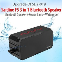 Original SARDINE F5 Subwoofer IP67 Waterproof Outdoor Bluetooth Speaker Powerful Mini Portable Speakers with Power Bank/TF Slot