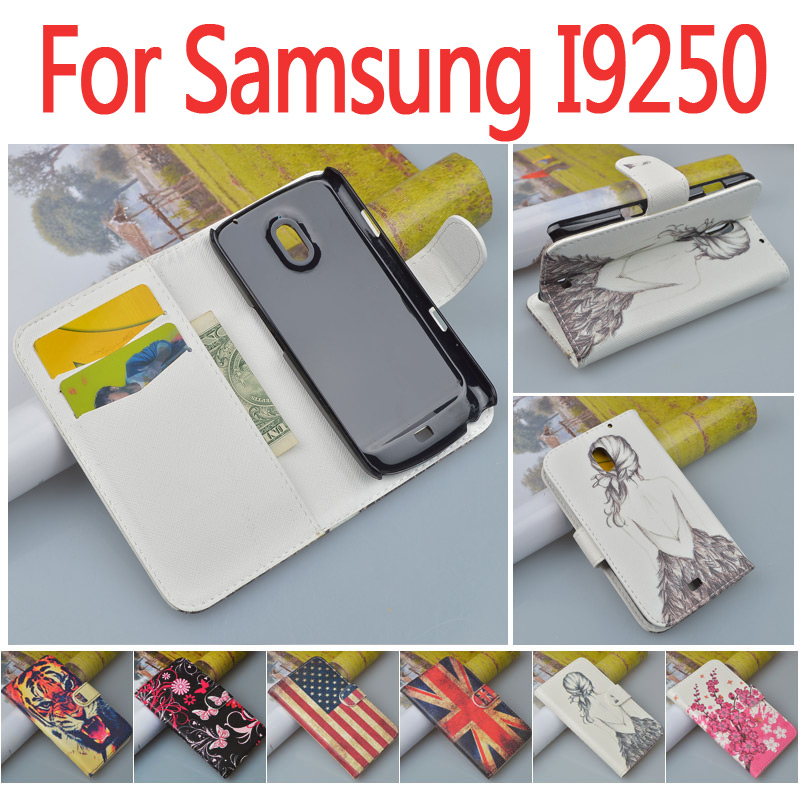 Fashion Printing Stand Wallet Case For Samsung Galaxy Nexus i9250 Flip Cover for Samsung i9250 Bag with ID Card Holder 7 Colors(China (Mainland))