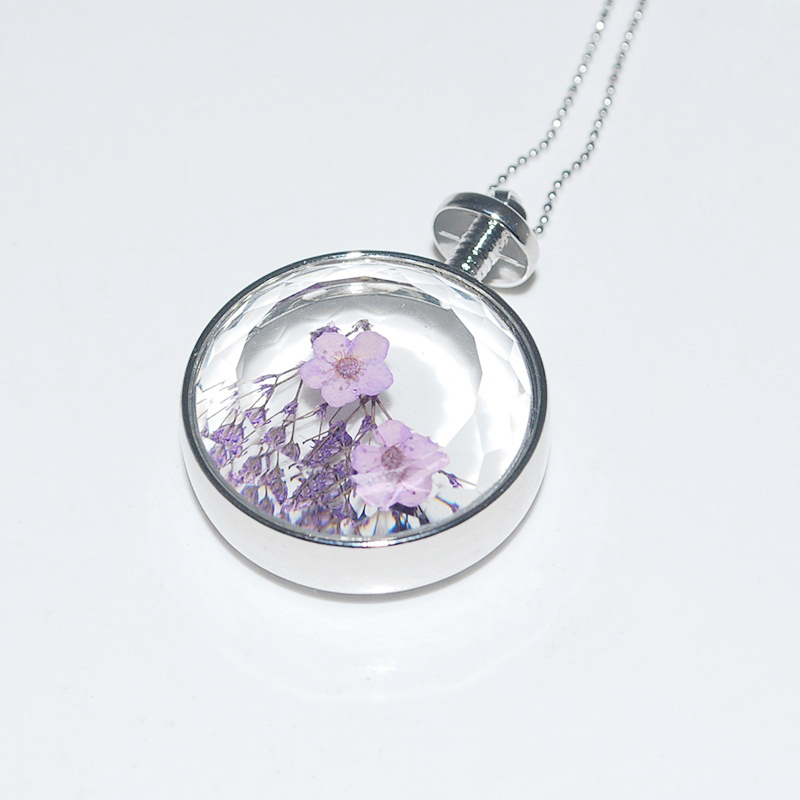 1 PC Unisex Real Dried Dry Flowers Floating Locket Necklace Round Resin Cabochon Living Pendant Glass Terrarium Accessories(China (Mainland))