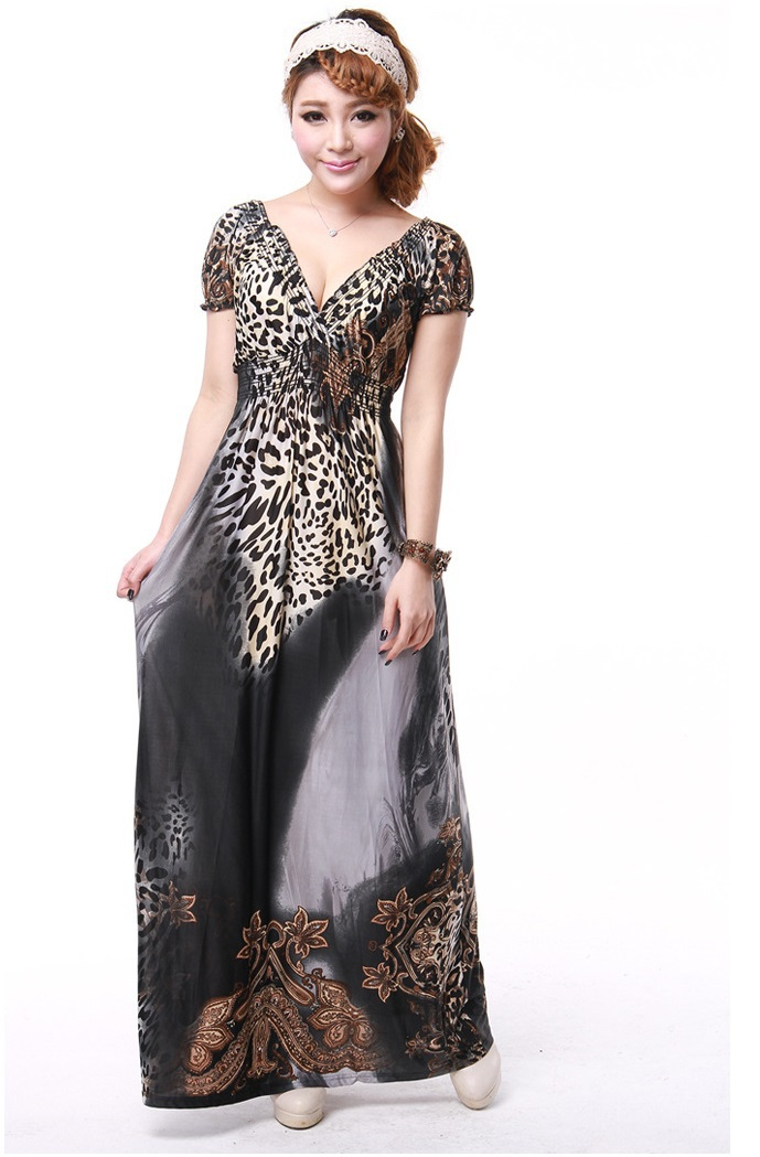 4Colors Plus Size Casual Sexy Leopard Maxi Dress Long Lady Dress Plus Size Women Clothing Clothes Apparel Big Size Day Dress(China (Mainland))