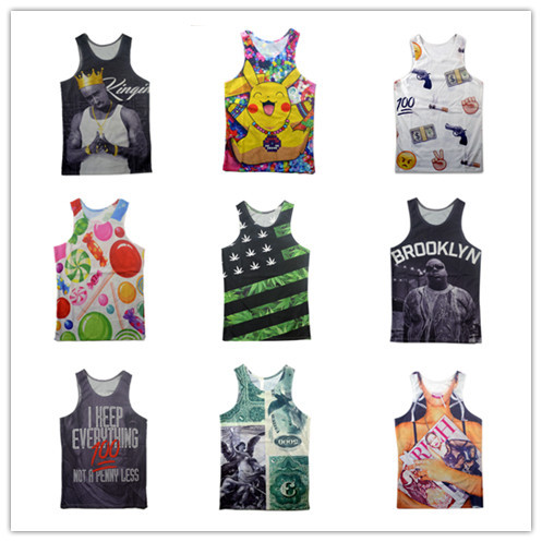 New men/women's print Biggie tupac emoji 100 3D tank tops pokemon/tiger cartoon funny sleeveless tee shirts vest summer tops(China (Mainland))