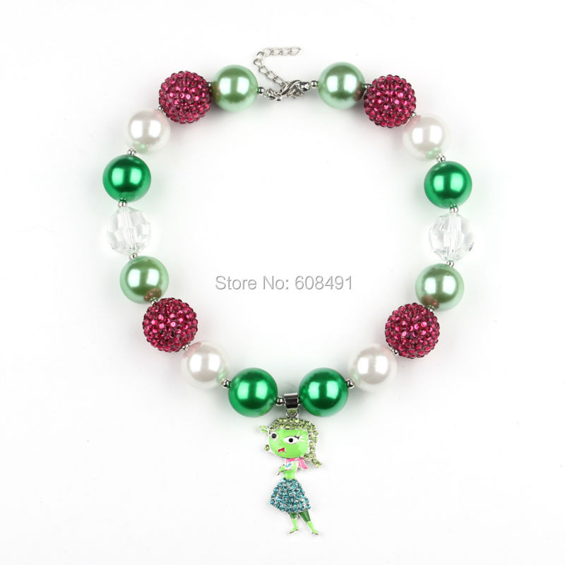 Inside Out Riley Pendant Chunky Bubblegum Necklace Little Princess Party Jewelry Chunky Beads Necklace 1PC<br><br>Aliexpress