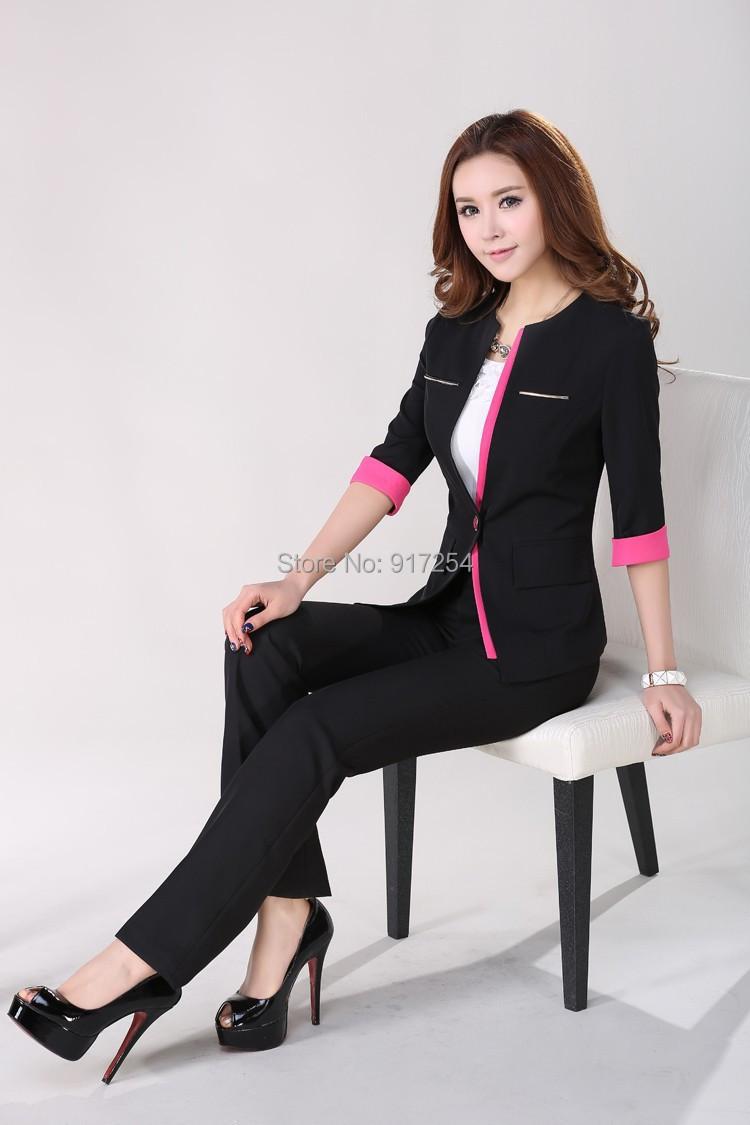 2015 Fashion Elegant Black Spring Summer Womens Business Work Wear Pants Suits ( Coat + Pants ) Uniforms Design Beautician SetОдежда и ак�е��уары<br><br><br>Aliexpress