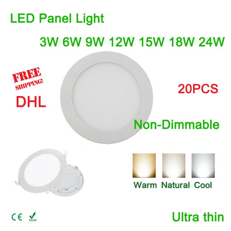 20pcs 3w 6W 9W 12W 15W 18W 24W LED panel light ceiling round recessed painel emergency lamp fit for balcony via DHL or FedEx(China (Mainland))