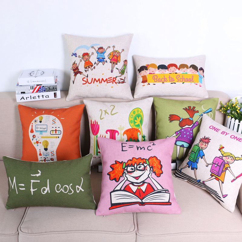 45cm Children In School Fashion Cotton Linen Fabric Throw Pillow Hot Sale 18 Inch New Home Decor Sofa Car Cushion Office Nap FR