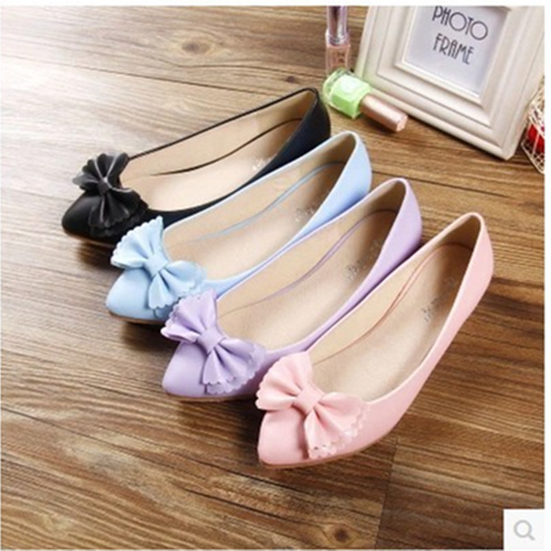 ladys Bowtie sweet comfortable leisure pointed toe flattie thin shoes  in spring summer black/purple/pink/blue<br><br>Aliexpress