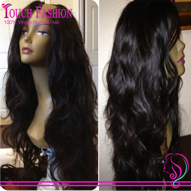 Wholesale U Part Human Hair Wigs Unprocessed Brazilian Natural Wave U Part Wigs Virgin Hair Upart Wigs With Side Part(China (Mainland))