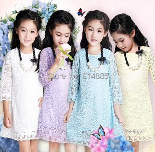 Freeshipping Autumn Sweet Children Girls Lace Dresses With Flowers Colourful Vintage Dress Gift Kid 2-7Y(China (Mainland))