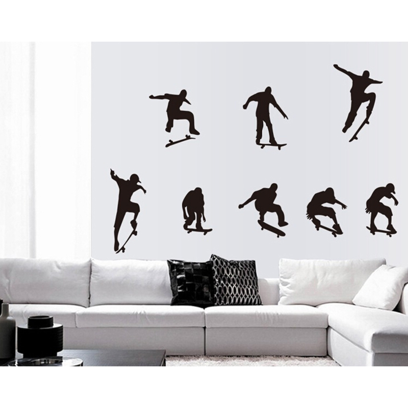 Creative Home Decor PVC Mural Skate Boys Black Skateboard Amusement Background Wall Stickers