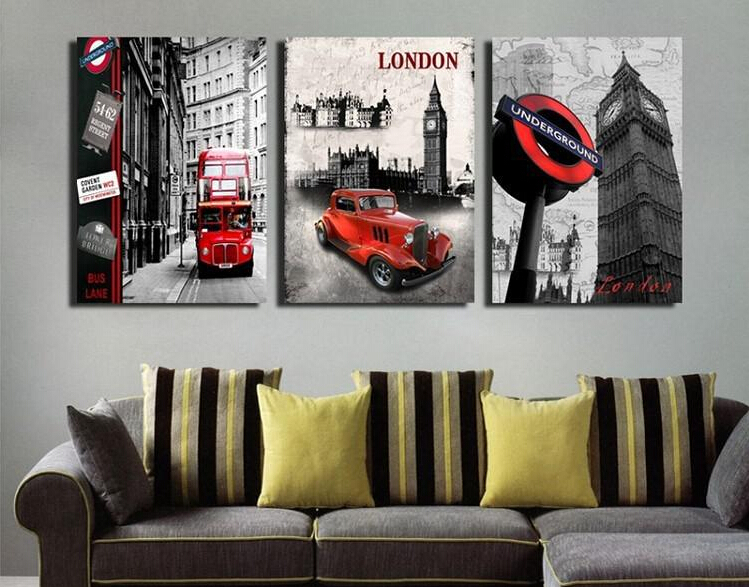 3PModern Wall Painting European architecture london red bus picture wall art oilPainting Decorative Art Picture Canvas Prints(China (Mainland))