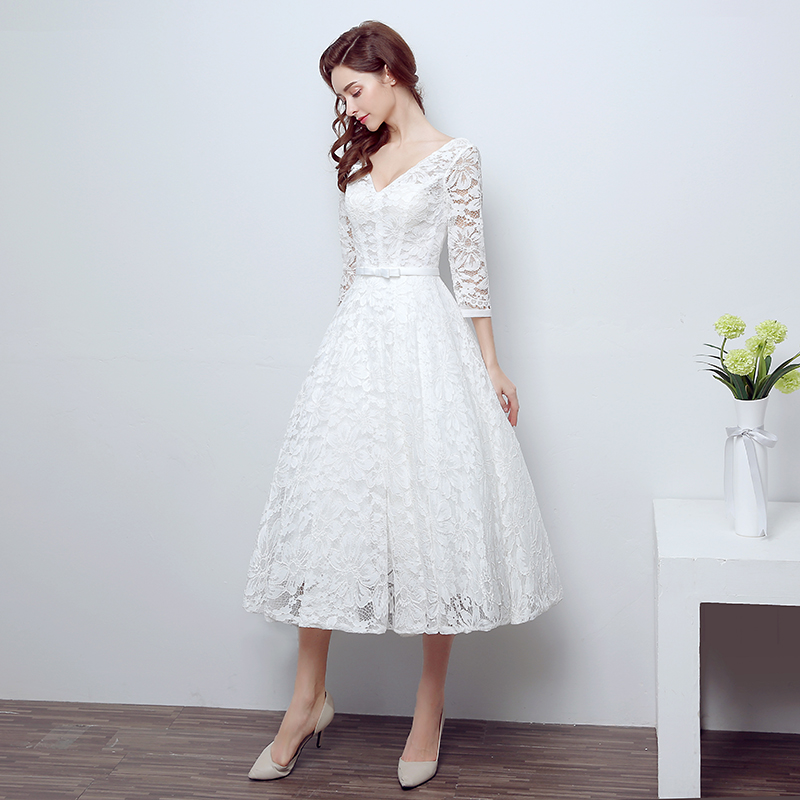 High quality ivory white vintage strapless lace tea length for Black tea length wedding dress