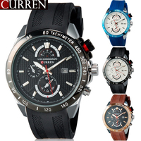 2015 New Hot Brand Curren 8148 Men's Waterproof Sports Military Army Quartz Analog Watches Silicone Dress Clock Wristwatches