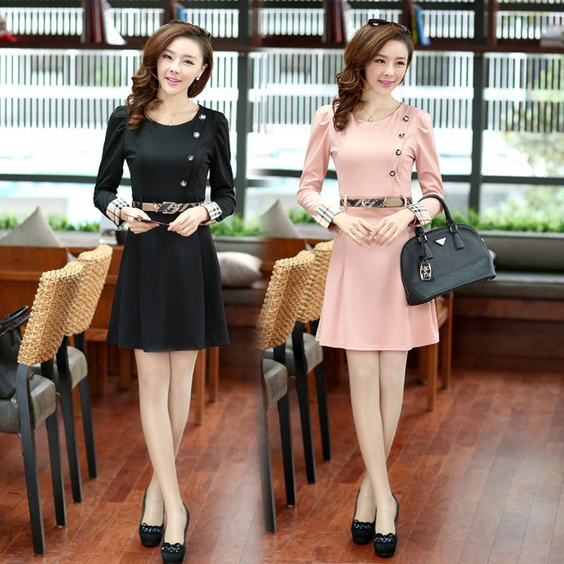 wholesale2015new fall&spring long sleeve dress slim cotton linen knitted dress button belt women dress plus size alibaba express(China (Mainland))