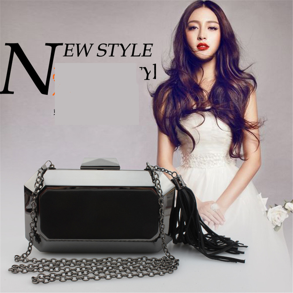 Lady's luxury black color split leather metal evening party bag shiny clutch chain phone small female bag box for party travel(China (Mainland))
