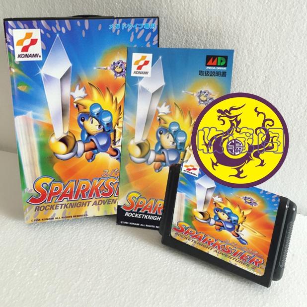 Sparkster Rocketknight Adventures 2 with retail box & manual 16bit game cartridge for sega megadrive/ genesis home game computer(China (Mainland))