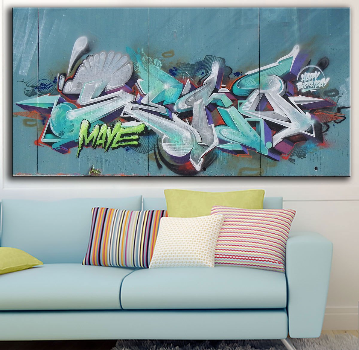 Large size Printing Oil Painting maye Graffiti art Wall painting Abstract Art Picture For Living Room painting No Frame(China (Mainland))