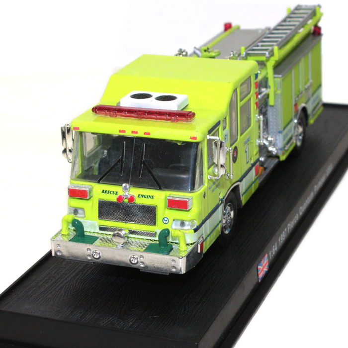 Free Shipping Collectible 1:64 Diecast Fire Truck 1997 Pierce Quantum Pumper USA Model Cars Trucks Yellow Color Gift for Kids(China (Mainland))
