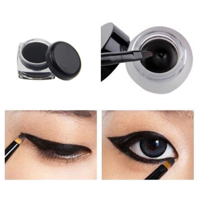 Hot Cosmetic Waterproof Eye Liner Pencil Make Up Black Liquid Eyeliner Shadow Gel Makeup With Brush Black(China (Mainland))