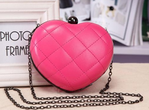 free shipping new Hot selling 2013 women's handbag retro elegant plaid love heart chain bag messenger  mini clutch evening bag