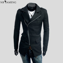 Buy New Arrival Spring Autumn Slim Long Trench Coat Men Casual Zipper Gothic Jacket Mens Suit Overcoat Black Coats Cappotto C007 for $39.94 in AliExpress store