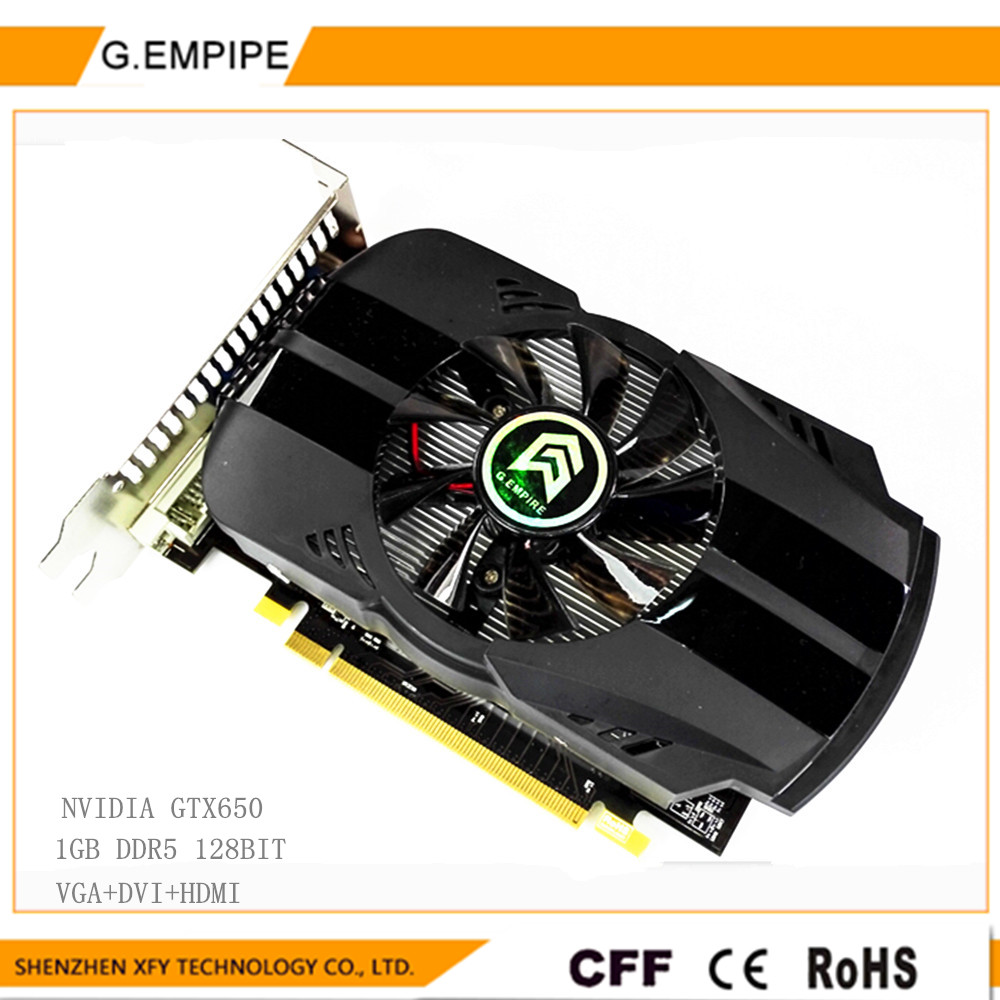 For PC game 1GB DDR5 128Bit GTX650 Graphics Card fan Placa de Video carte graphique Video Card for Nvidia GTX DVI Russia(China (Mainland))