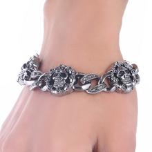 Buy Fashion Punk Skull Stainless Steel Charm bracelet Women DIY Bracelets & Bangles Charms Bracelets Men Pulseira Jewelry Gift for $1.33 in AliExpress store