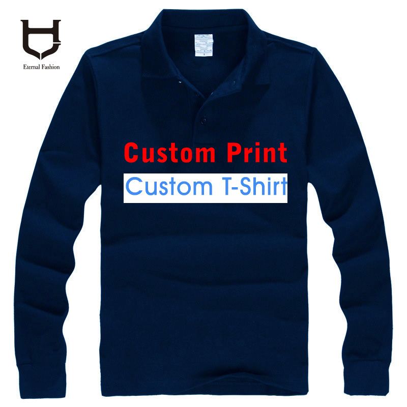 Custom Made logo Polo shirts personal custom Own Logo Men's Shirt long sleeve Customized designer Mix colour 100% cotton Polos(China (Mainland))