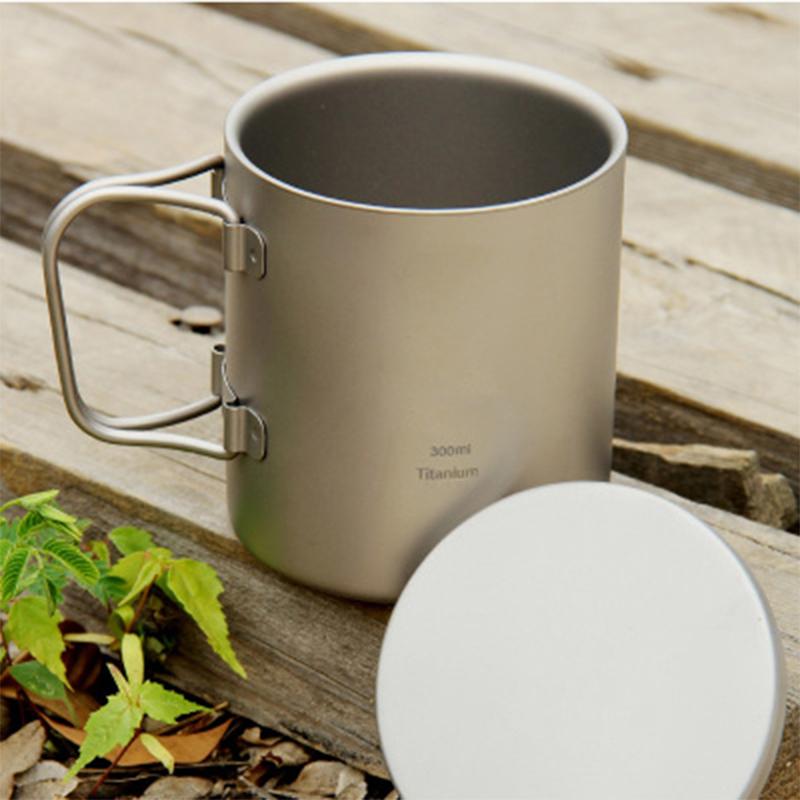 New Titanium Double-wall Mug Titanium Cup Drinkware Camping Cup Mug Cookware Office Heatable Lightweight 100g 300ml KS812<br><br>Aliexpress