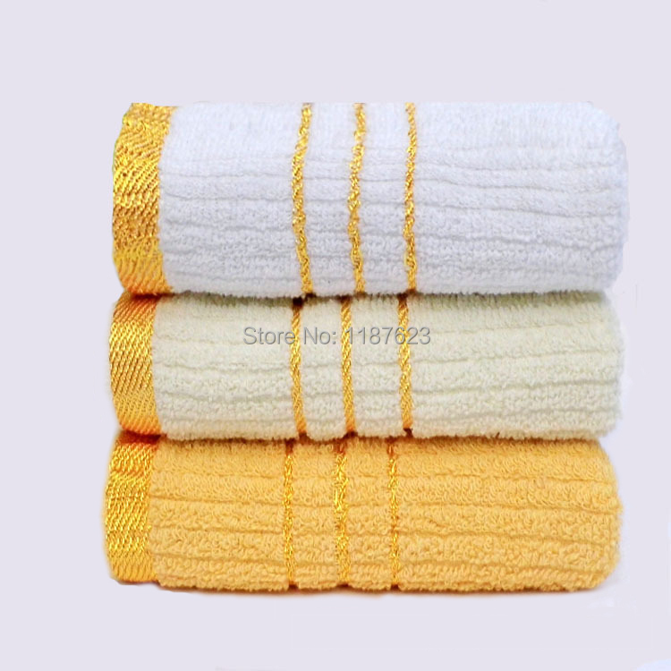New White and Gold Towel,Towel Bathroom 100% Cotton Face Towel for Adults Washcloth Solid Design Toalha(China (Mainland))