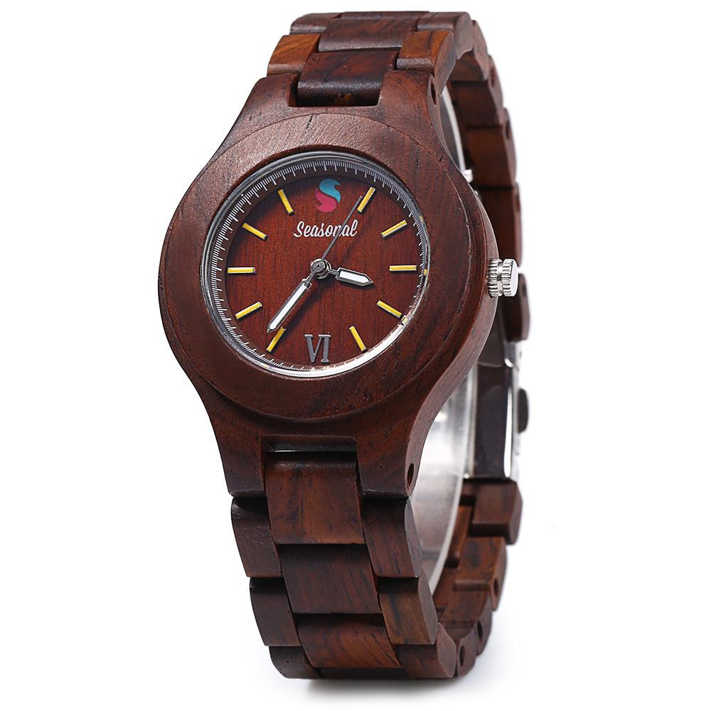 2016 новинка сезонные мужской кварцевые часы с индикацией даты клен тело женщины деревянные часы для рождественских подарков специальную