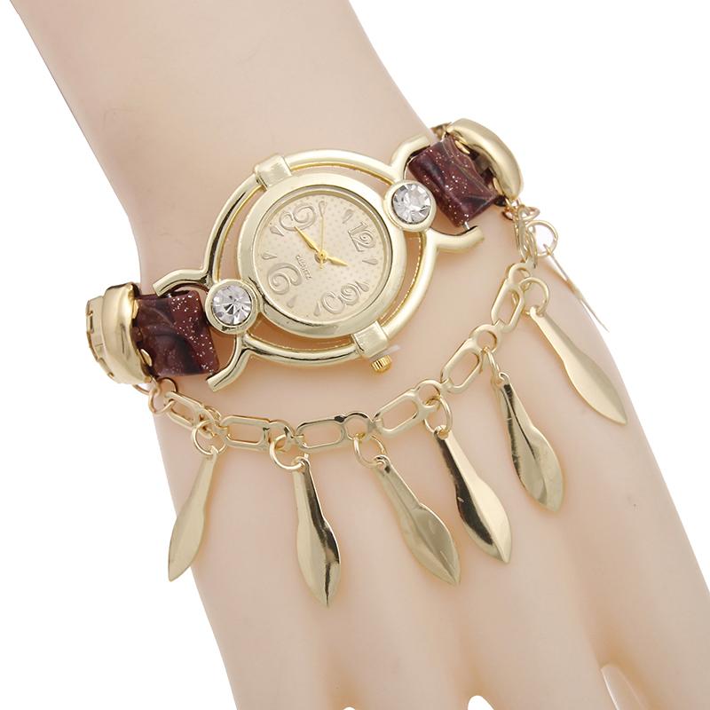 Sloggi brand reloj hombre Rhinestone bracelet digital watch women,relogio masculino Gold leaf pendant quartz Watch hot sale(China (Mainland))