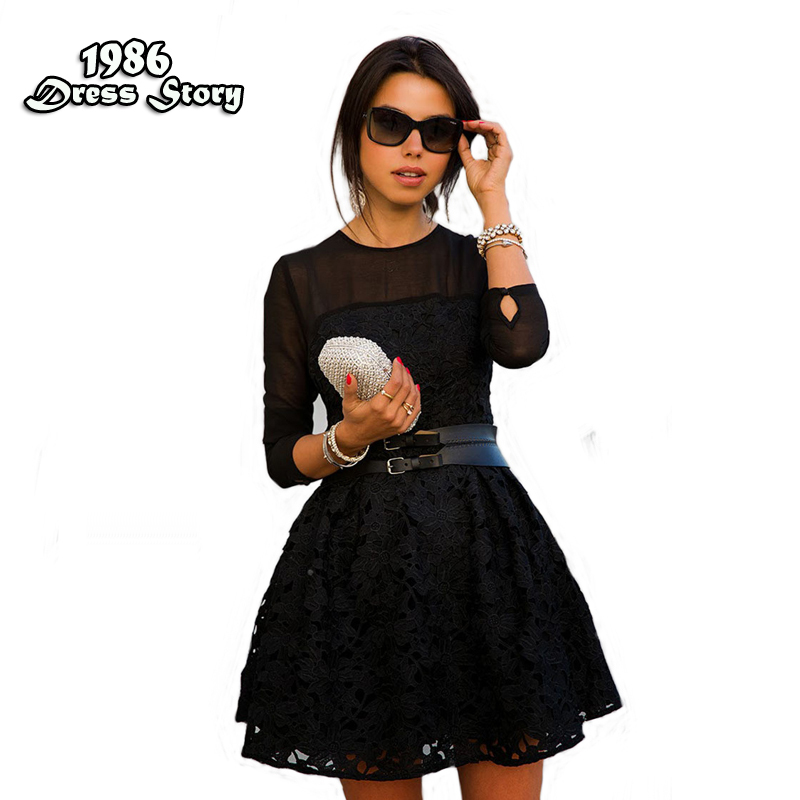 Fashion Summer Dress Vestidos Chiffon Hollow Out Solid Black Women Dresses Party dress Mini Embroidery Hot Sale(China (Mainland))