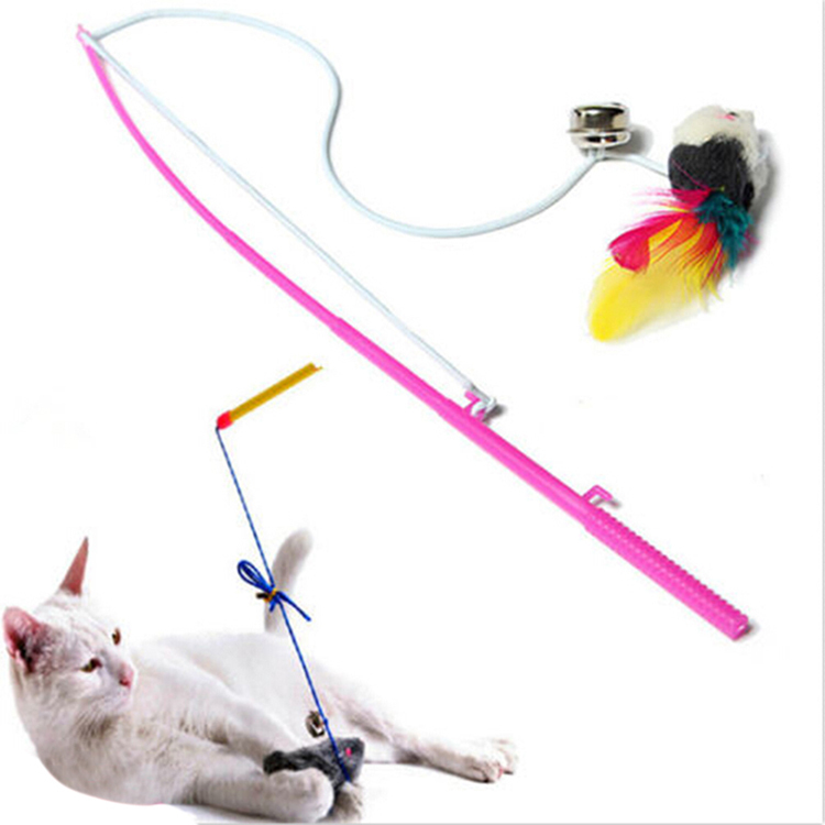 Pet Cat Bell The Dangle Faux Mouse Rod Roped Funny Fun Play Playing Toys(China (Mainland))