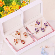 S213328 New crystal oval shape zircon set ring earring necklace zinc alloy rose gold color with Austria crystal fashion jewelry(China (Mainland))