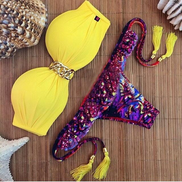 Большой размер бикини устанавливает купальник яркий цвет мягкий бандо летний стиль 977
