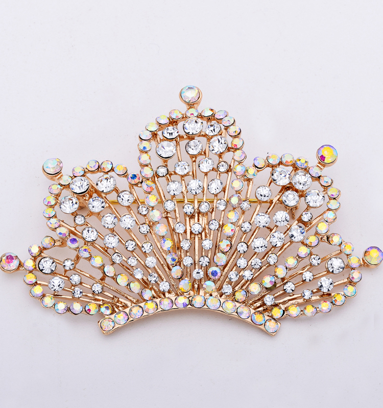 Alloy silver jewelry fashion women Crown brooches alloy crown brooch gold plated rhinestone Brooches for women lapel pin X1538(China (Mainland))