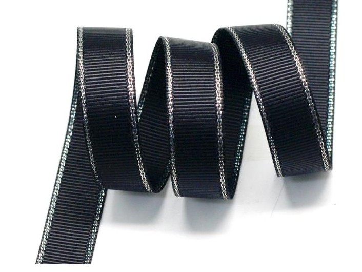 "1/2"" 6mm Polyester Silver Metallic Edge Grosgrain Ribbon Wired Ribbons With Metallic Edge DIY Accessories 100yards/color(China (Mainland))"