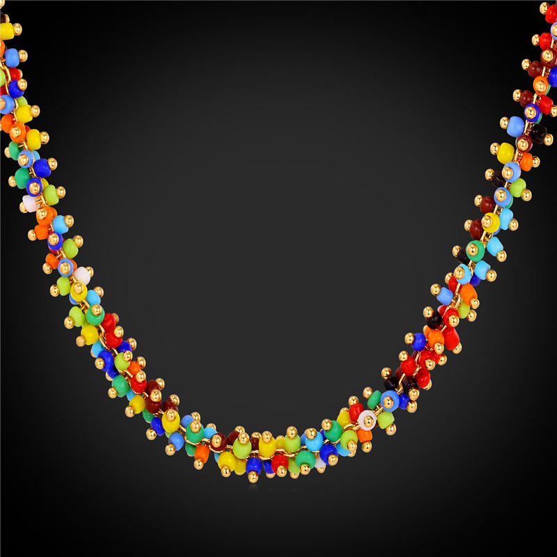 High Quality Synthetic Coral Beads Necklace Women Bohemian Jewelry Wholesale 18K Yellow Gold Plated Colorful Necklace 2016 N1638(China (Mainland))