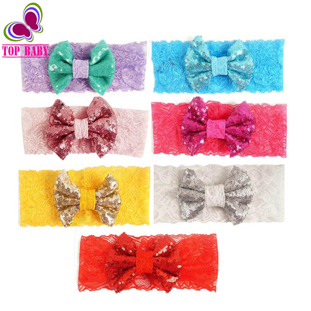Children'S Baby Bow Hair Band Accessory Big Sequin Bows With Lace Headbands For Girls Handmade(China (Mainland))