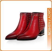 2014 media del tobillo envío gratis corto Natrual reales cuero genuino del alto talón mujeres nieve zapatos de la bota tamaño del EUR 34-39 rojo negro(China (Mainland))