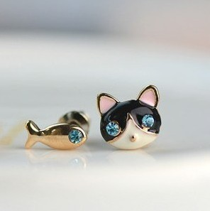 Min.order is $8 (mix order) Free Shipping Korean Jewelry Cute Little Cat and Fish Earrings Christmas Gift Wholesales XY-E434<br><br>Aliexpress