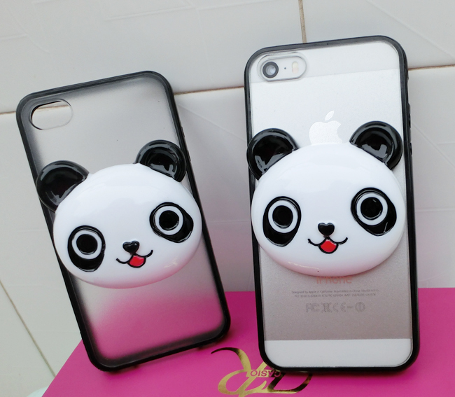 Cute 3D panda head case for Apple iphone 4s 5s, black border transparent rigid cover for mobile phone cases.(China (Mainland))