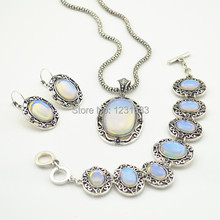 WG002 Natural Opal Stone Necklace & Earring & Bracelet Jewelry Set Abalone Shell Owl SetVintage Tibetan Alloy Antique Silver(China (Mainland))