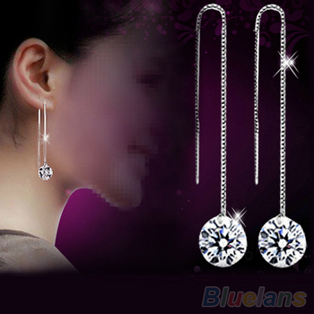 Women's Zircon Topaz Drop Chain Earrings 1OZ4